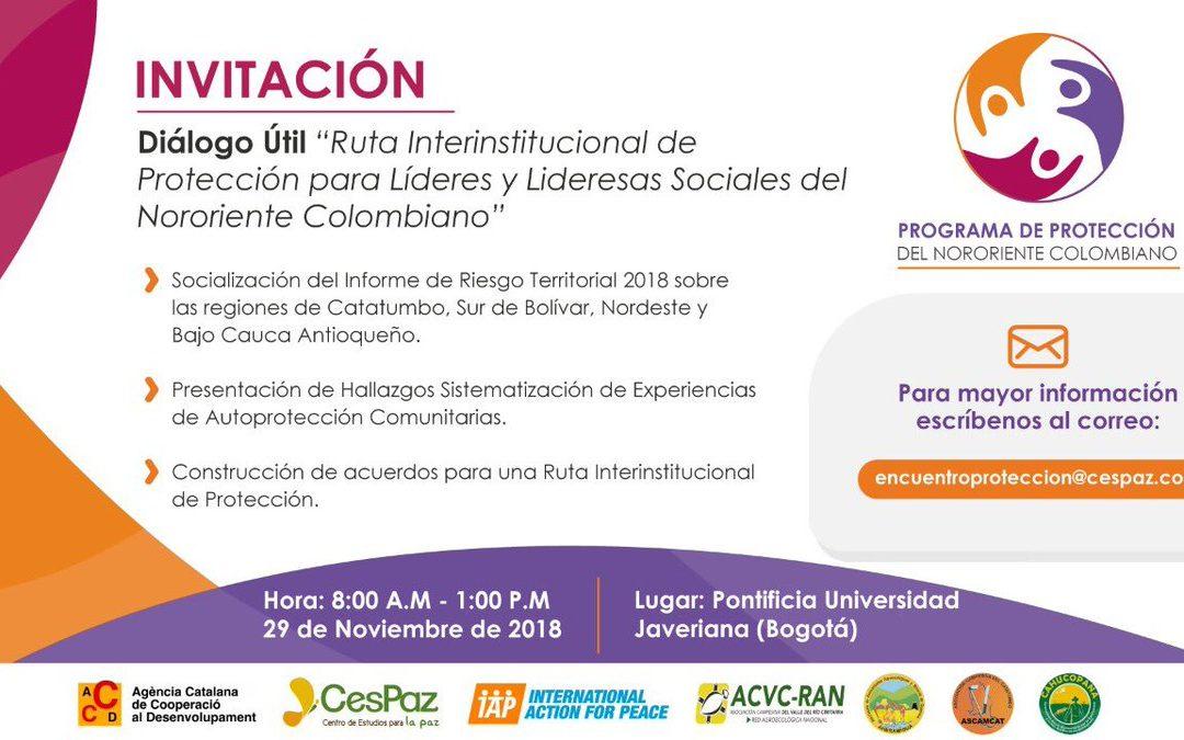 """""""Ruta Interinstitucional de protección para líderes y lideresas del Nororiente Colombiano"""""""